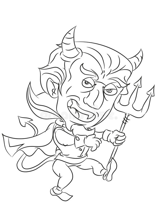 Cartoon devil smiling and dancing coloring page. Happy and funny traditional illustration for children - scene for different usage vector illustration