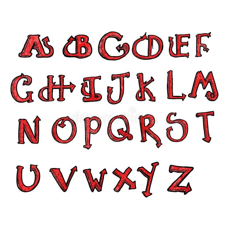Lucifer Font: Cartoon Devil Tail Alphabet Royalty Free Stock Photography