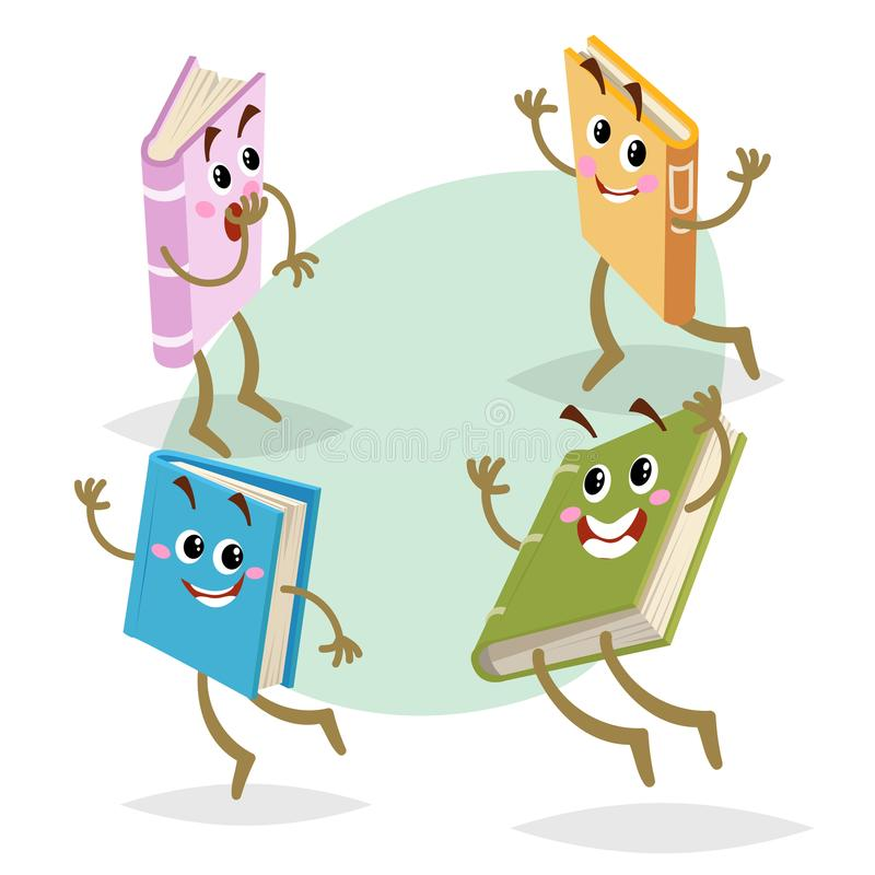 Cartoon different colors funny books characters set. Running, jumping and smiling mascots. Back to school, kid education and knowl. Edge symbols isolated on royalty free illustration