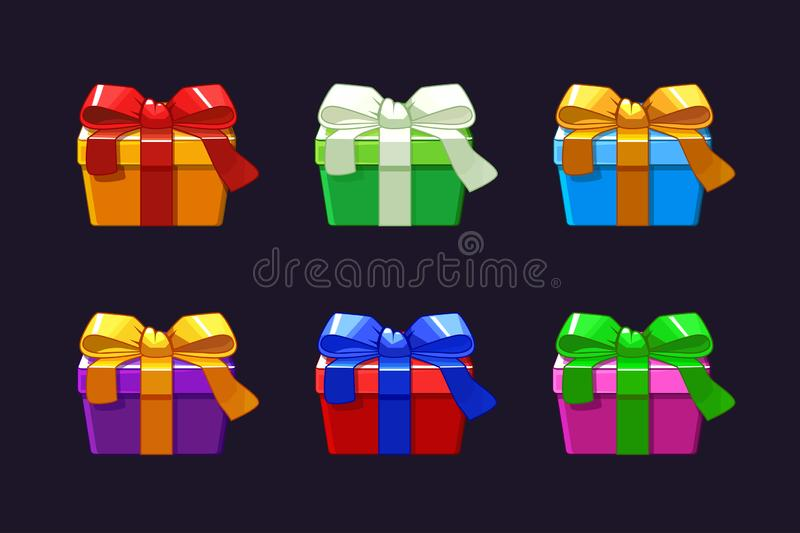 Cartoon different Gift Box, vectors objects present box. Cartoon different Gift Box, vectors objects present box vector illustration