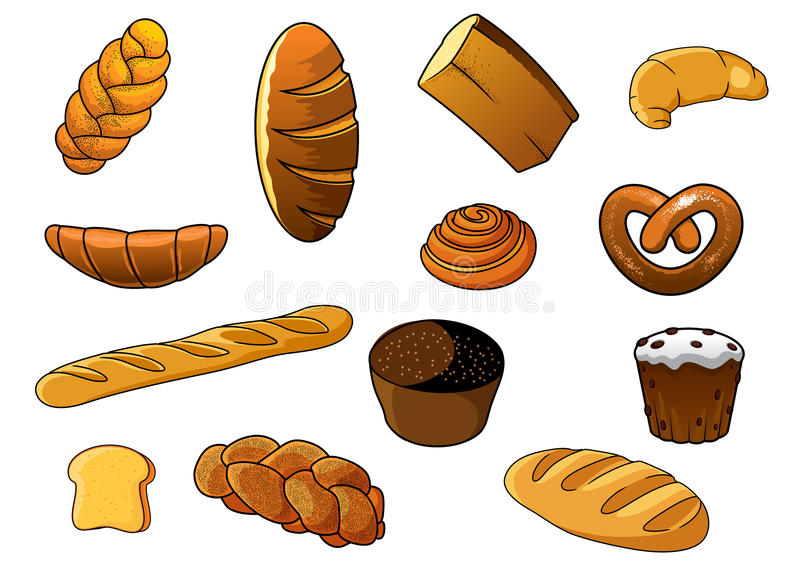 Cartoon different kinds of bread and pastries. Cartoon fresh bakery products design elements depicting loaves of white and brown bread, long loaves, baguette and vector illustration