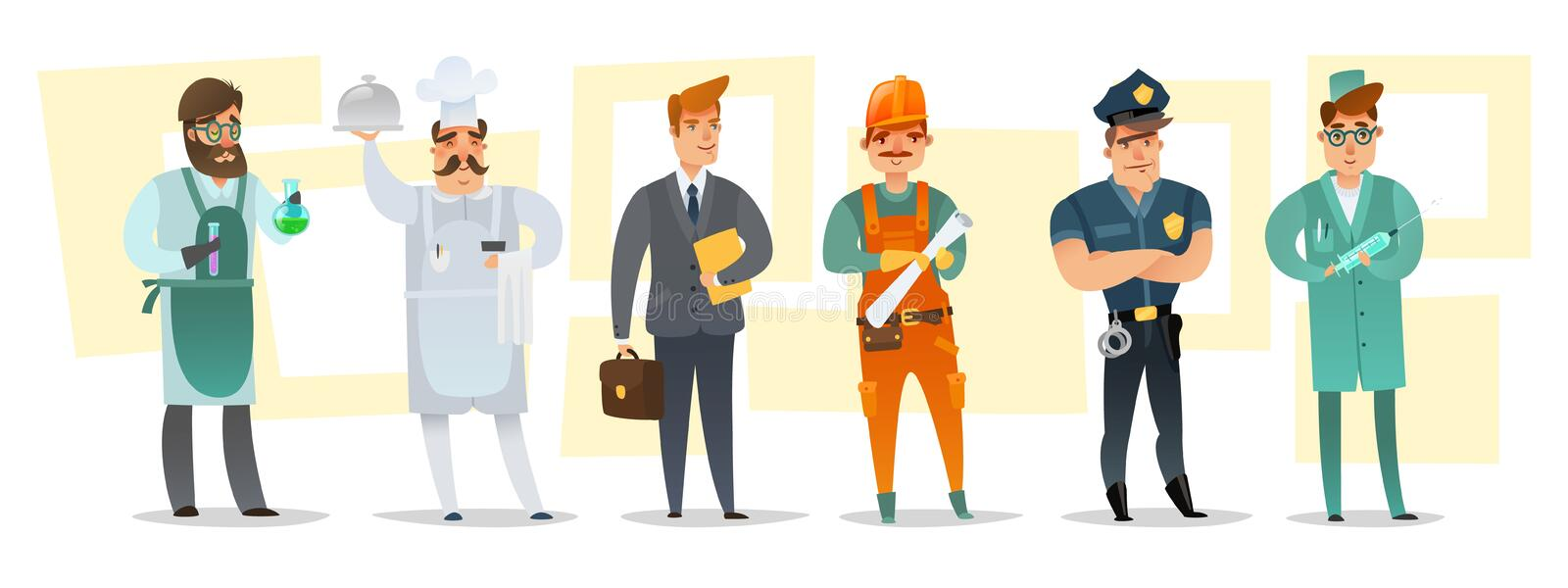 Cartoon different professions male characters horizontal illustration stock illustration
