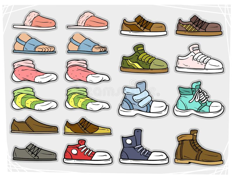 Cartoon different shoes and soks vector icons. Cartoon different colorful shoes and socks. Slippers and sandals. Boots and sneakers. Isolated on gray background royalty free illustration