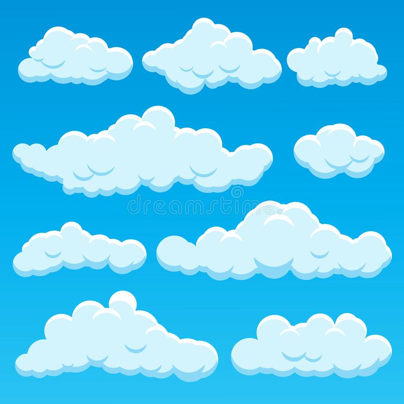 Cartoon Different Types Clouds Icon Set on a Blue. Vector vector illustration