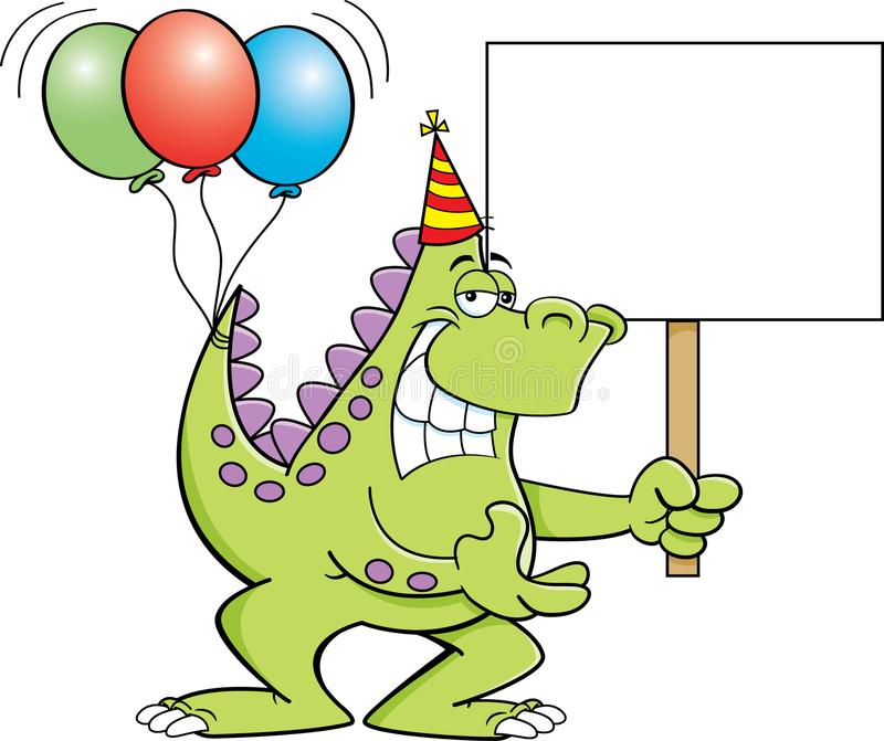 Cartoon dinosaur with balloons on it`s tail and holding a sign. stock illustration