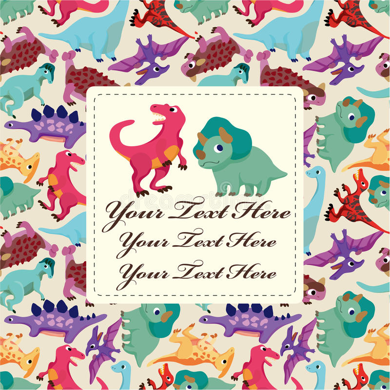 Download Cartoon dinosaur card stock vector. Image of adorable - 18358622