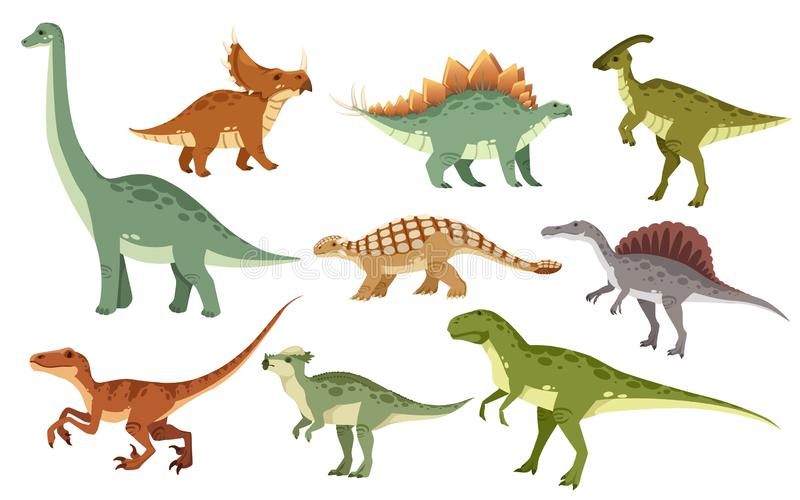 Cartoon dinosaur set. Cute dinosaurs icon collection. Colored predators and herbivores. Flat  illustration isolated on white. Background vector illustration