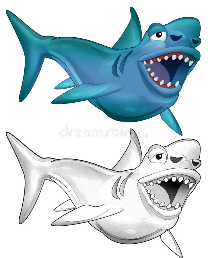 The Cartoon Dinosaur Shark Megalodon Coloring Page For Kids