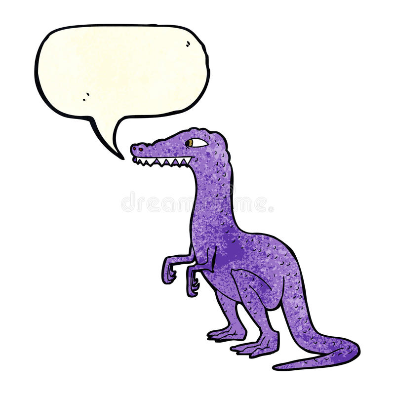 cartoon dinosaur with speech bubble royalty free illustration