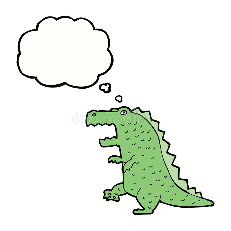 cartoon dinosaur with thought bubble royalty free illustration