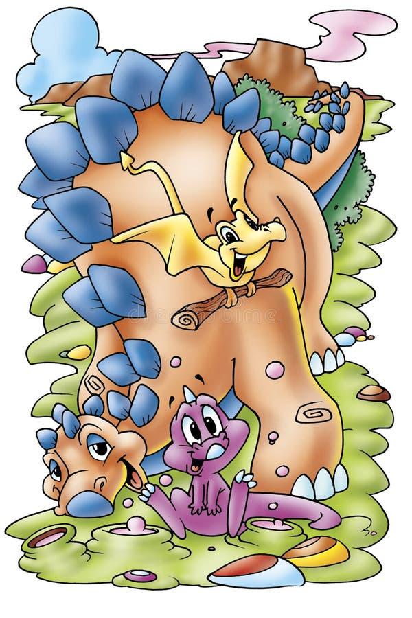 Cartoon dinosaurs royalty free stock photos