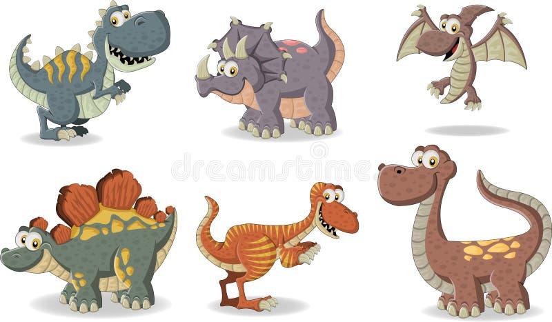 Cartoon dinosaurs. Group of funny cartoon dinosaurs vector illustration