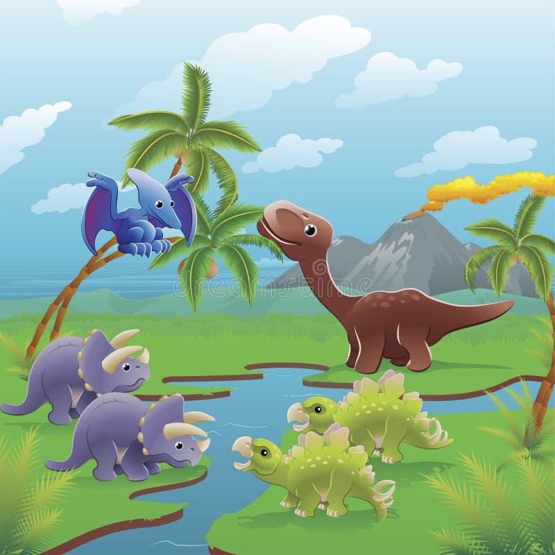 Free Cartoon Dinosaurs Scene. Stock Photo - 19465430