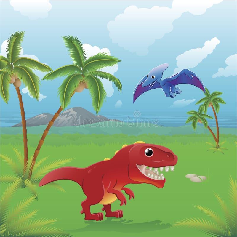 Cartoon dinosaurs scene. stock illustration