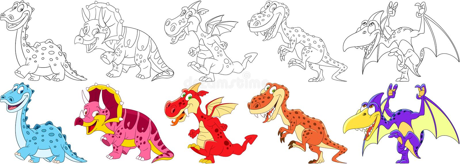 Cartoon dinosaurs set stock image