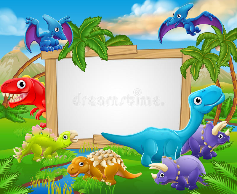 Cartoon Dinosaurs Sign. A sign surrounded by cute cartoon dinosaur characters stock illustration