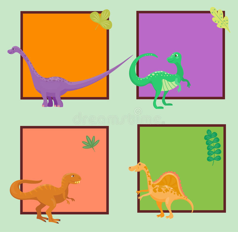 cartoon dinosaurs vector illustration monster card template animal