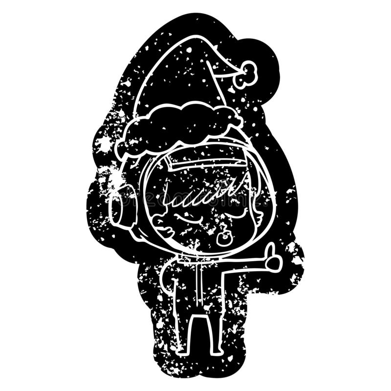 cartoon distressed icon of a pretty astronaut girl giving thumbs up wearing santa hat royalty free illustration