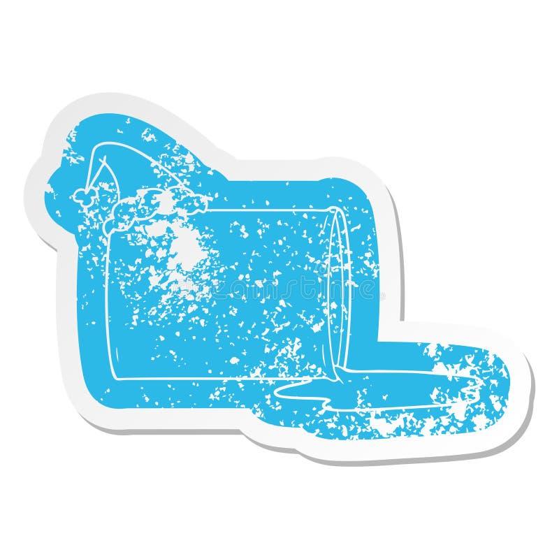 Cartoon distressed sticker of a oil drum wearing santa hat. A creative illustrated cartoon distressed sticker of a oil drum wearing santa hat royalty free illustration