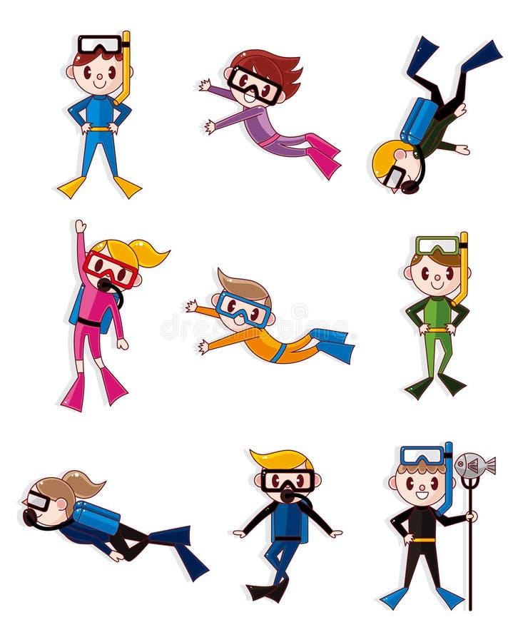 Cartoon diver icons royalty free illustration