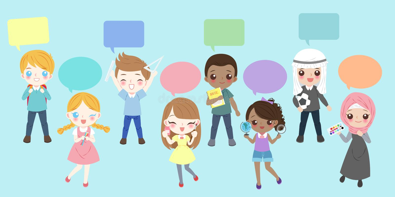 Cartoon diverse children. Cute cartoon diverse children with speech bubble on the blue background royalty free illustration