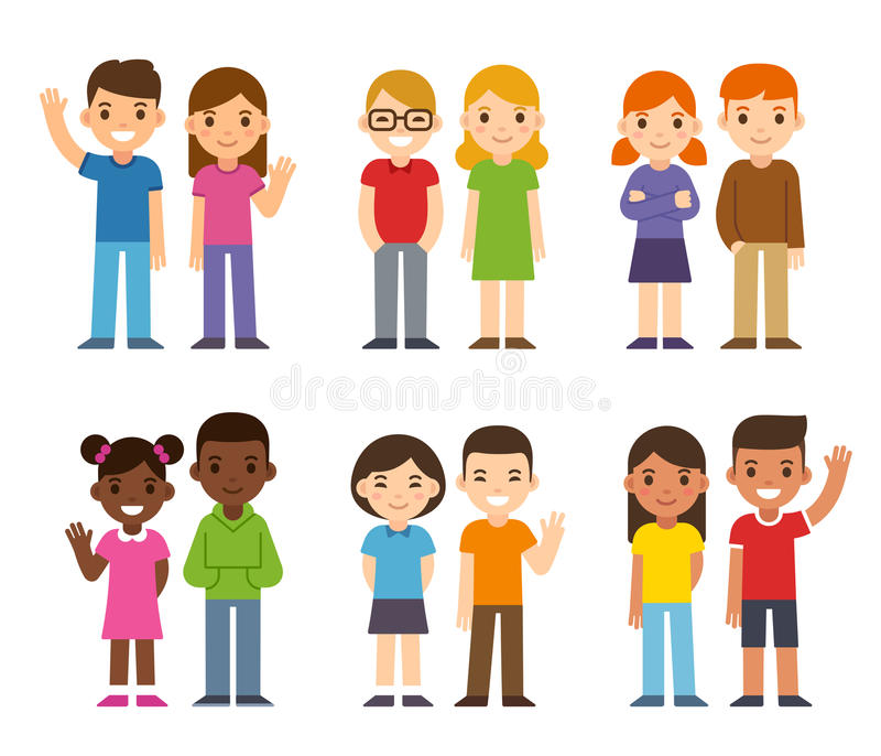 Cartoon diverse children. Set of cute cartoon diverse children, boys and girls. Simple flat vector style royalty free illustration