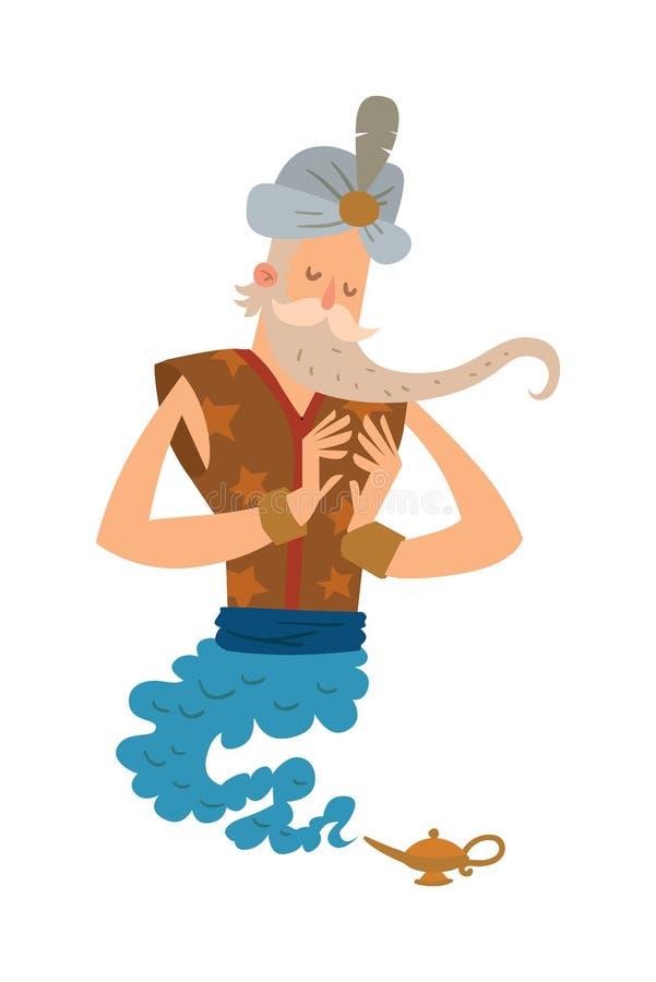Cartoon djinn old man coming out of a magic lamps. Legend cartoon wizard vector illustration