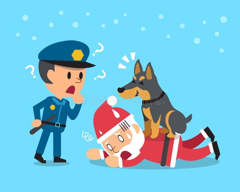 Cartoon doberman dog helping policeman to catch santa claus stock illustration