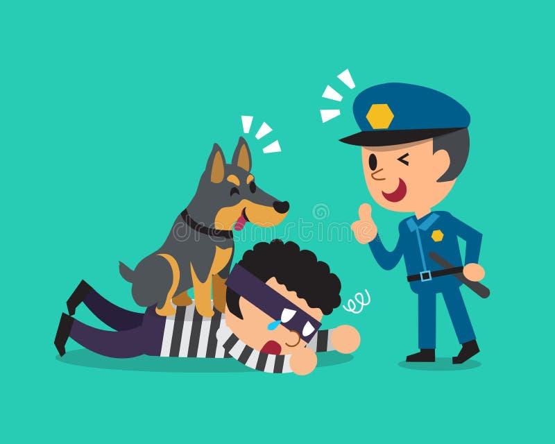 Cartoon doberman dog helping policeman to catch thief. For design vector illustration