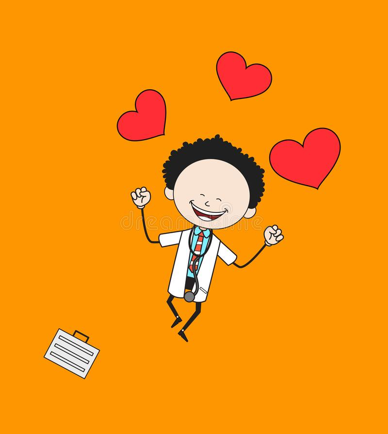 Cartoon Doctor - Feeling Very Excited vector illustration