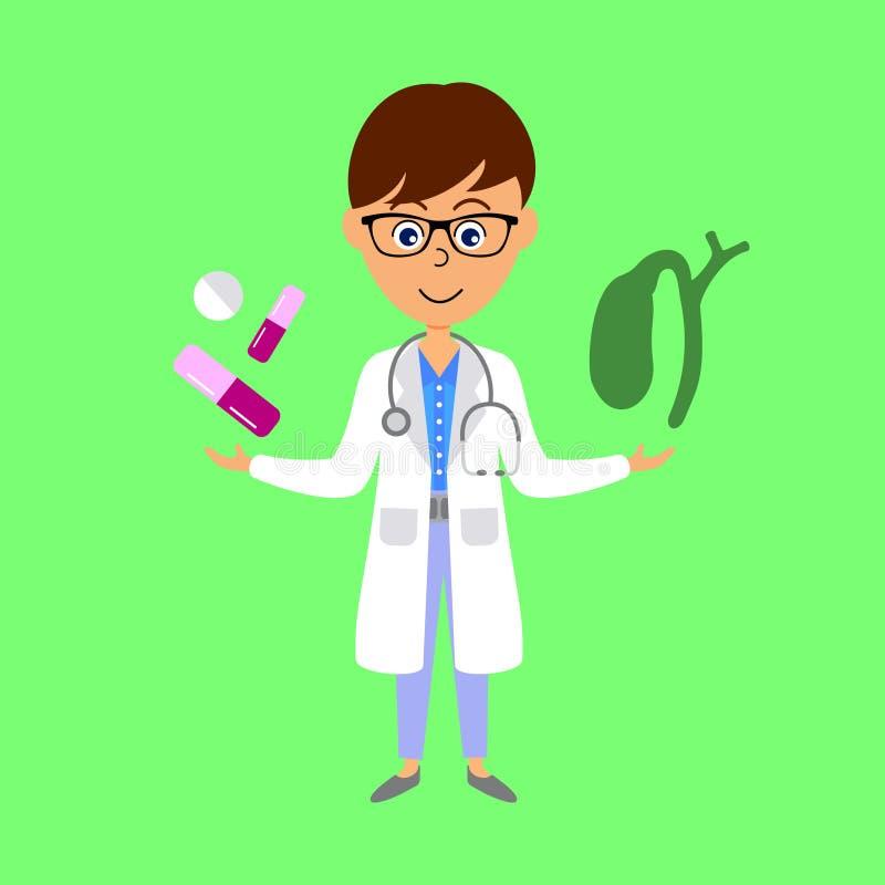 Cartoon doctor, gall bladder and medicine. Healthcare concept. stock illustration