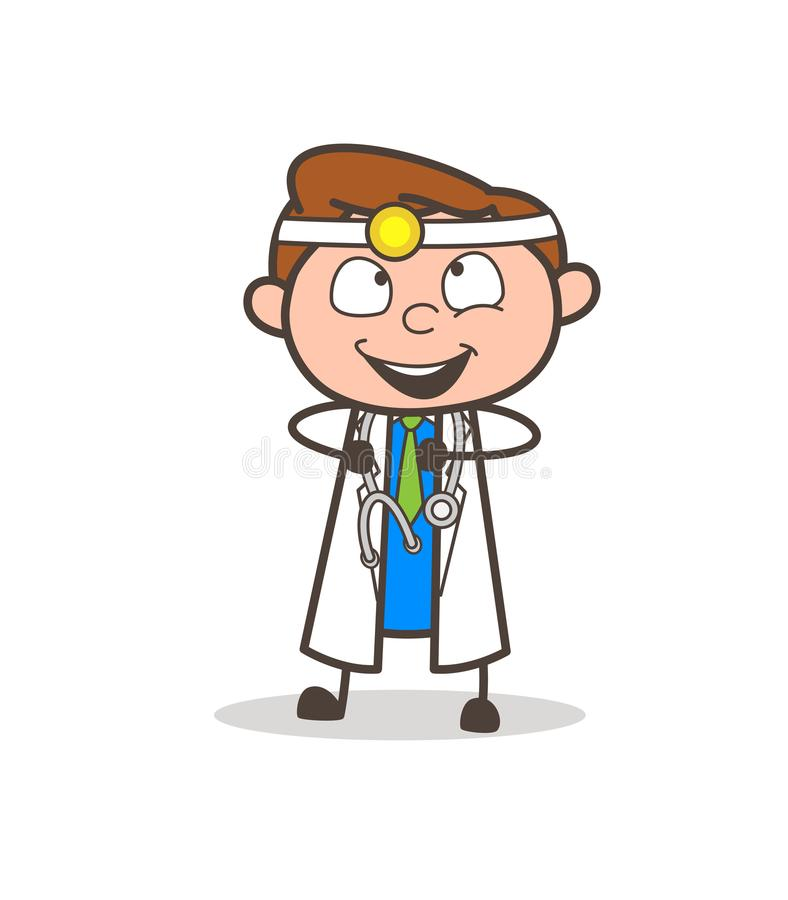 Cartoon Doctor Joyful and Excited Expression royalty free illustration