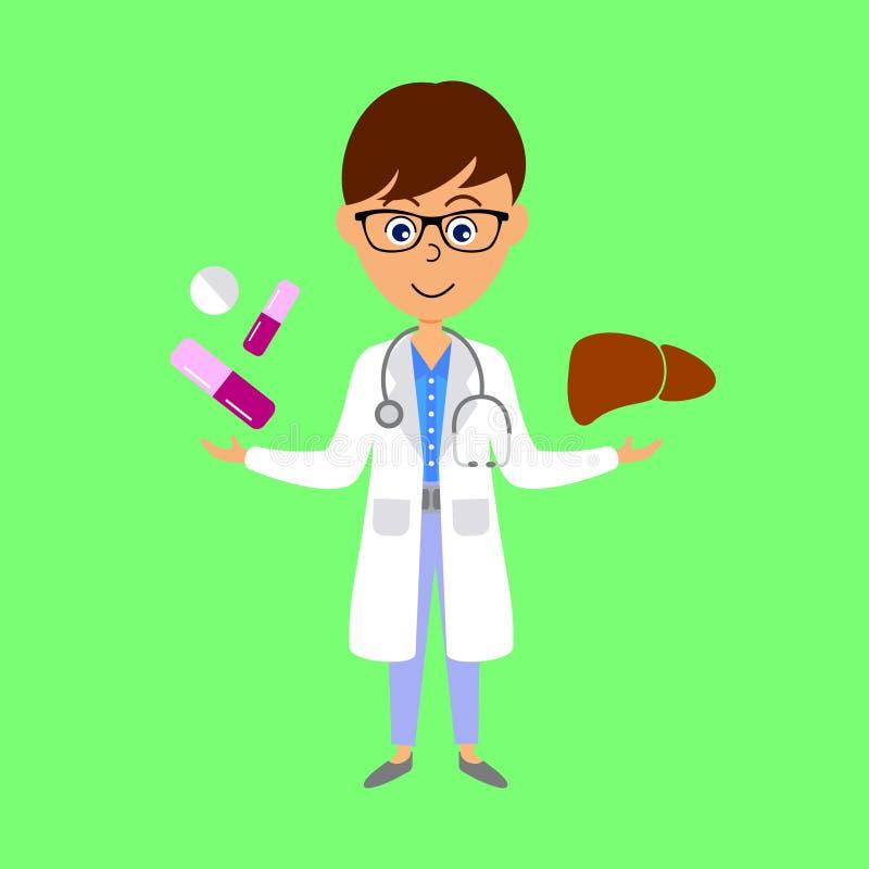 Cartoon doctor,  liver and medicine. Healthcare concept. royalty free illustration