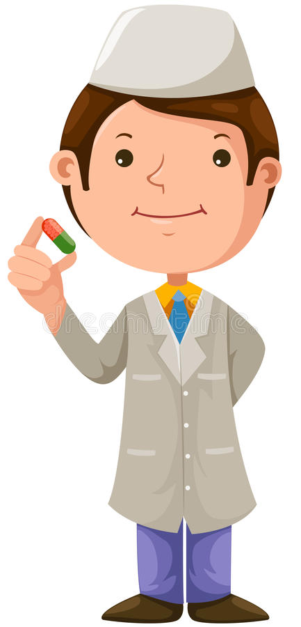 Cartoon doctor with medical vector illustration
