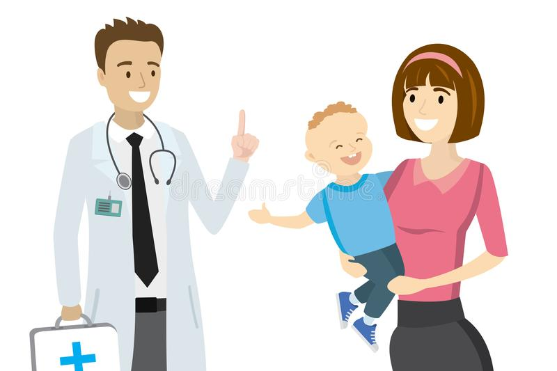 Cartoon doctor and mother with child,. Isolated on white background,vector illustration stock illustration