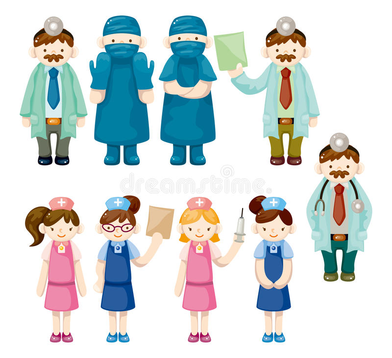 Download Cartoon Doctor And Nurse Icons Royalty Free Stock Image - Image: 22208746