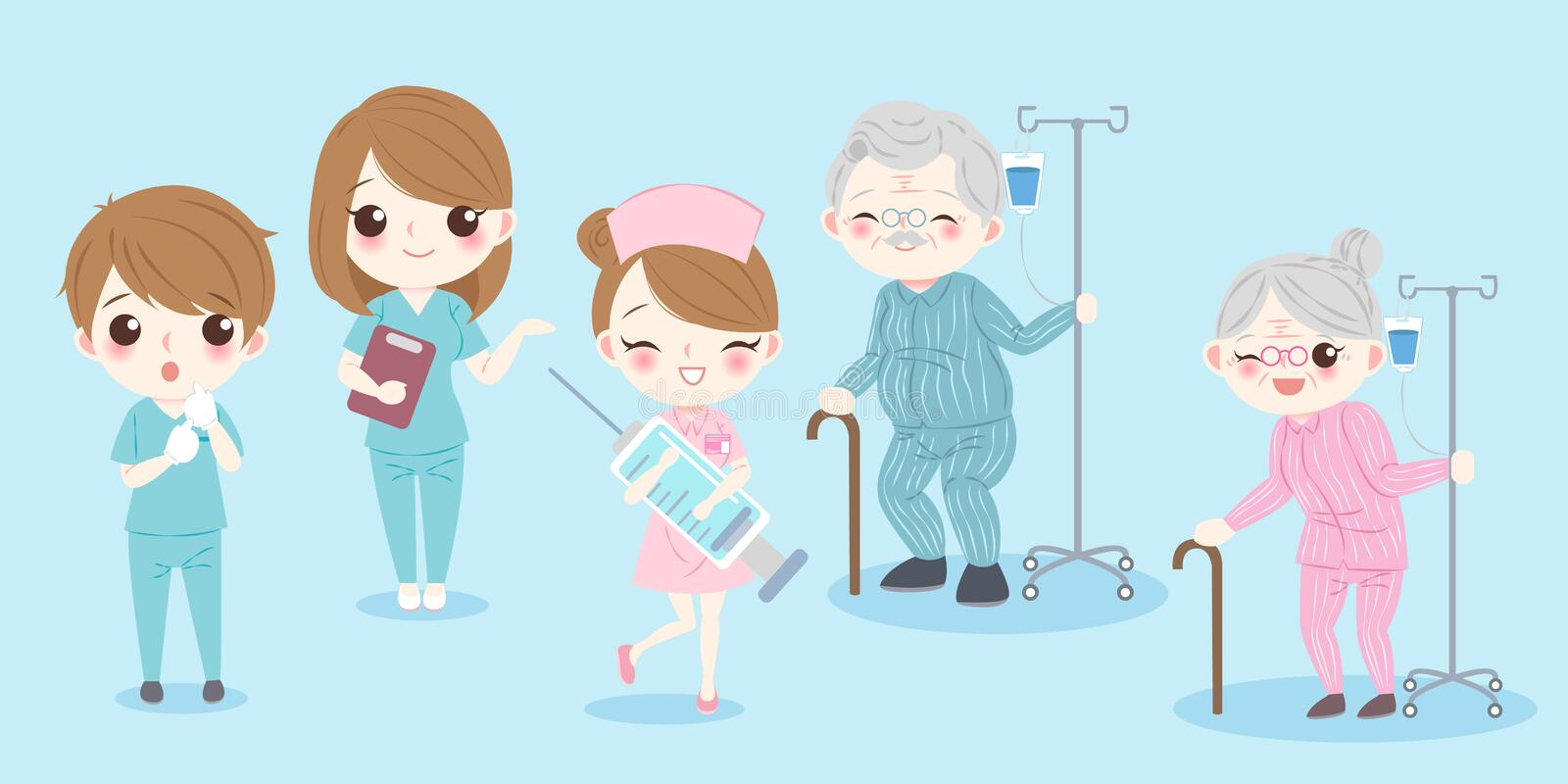 Cartoon doctor with patient. On the blue background royalty free illustration