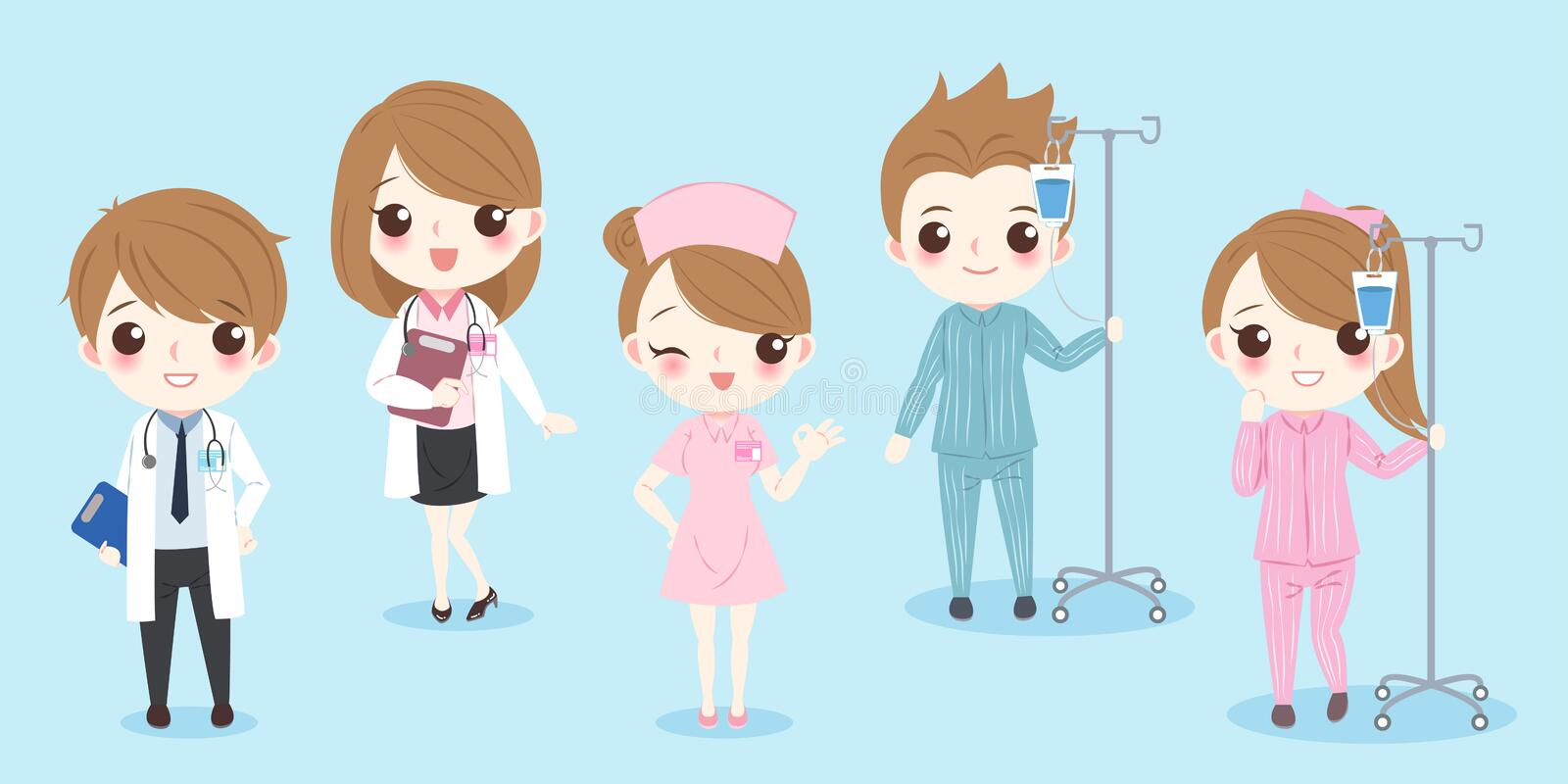 Cartoon doctor with patient. On the blue background stock illustration