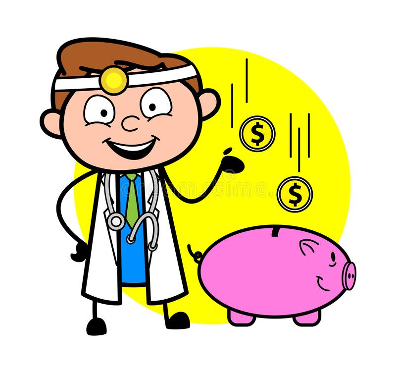 Cartoon Doctor with Piggy Bank - Saving Concept Vector Illustration royalty free illustration