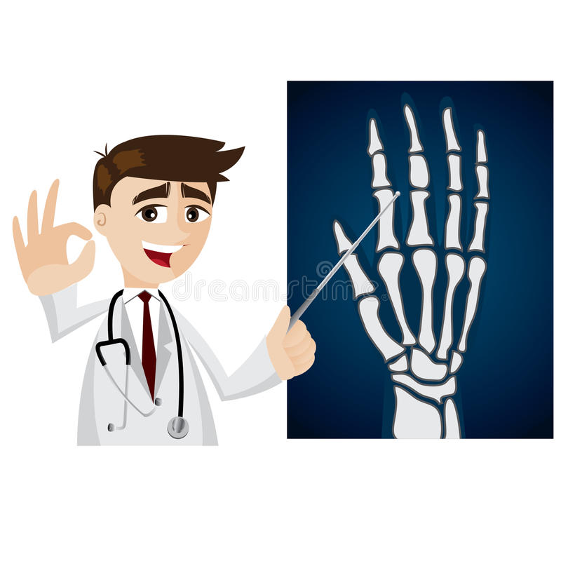 Cartoon doctor with x-ray film. Illustration of cartoon doctor with x-ray film stock illustration