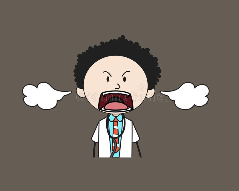 Cartoon Doctor - Screaming in Aggression vector illustration