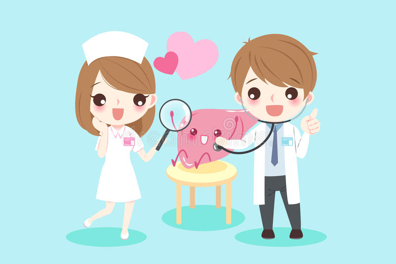 Cartoon doctors with liver vector illustration