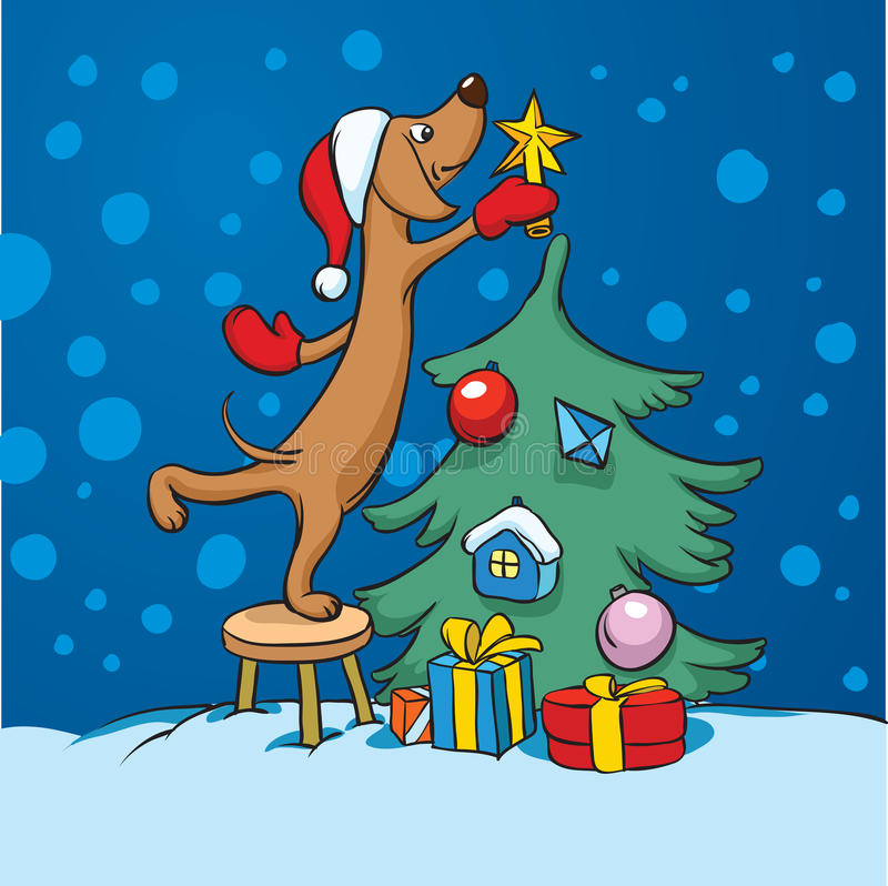 Cartoon dog arranging christmas tree. Vector illustration of cartoon dog arranging christmas tree. Easy-edit layered vector EPS10 file scalable to any size vector illustration