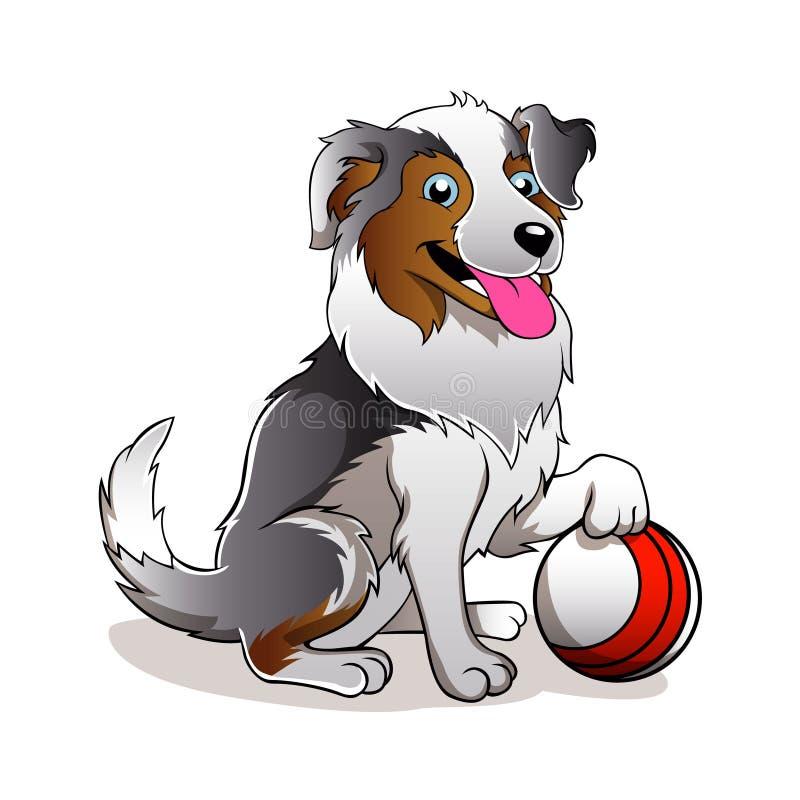 Cartoon Dog with ball royalty free illustration
