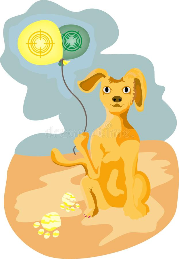 Download Cartoon dog with balloons stock vector. Image of vacation - 20505565