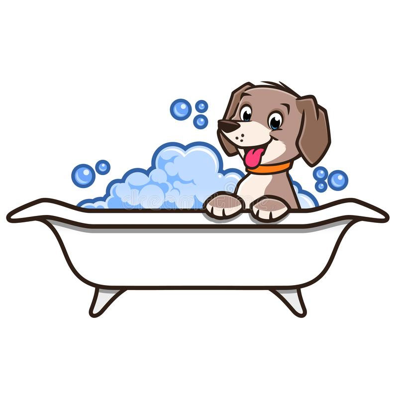Cartoon Dog Bath. Vector illustration of a cute happy dog having a bath stock illustration