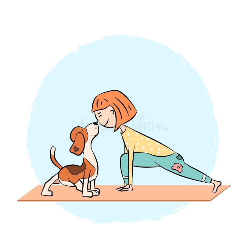 Cartoon dog beagle with girl doing yoga. Cartoon funny dog beagle with girl doing yoga pose. Surya Namaskara. San Salutation. Vector illustration royalty free illustration