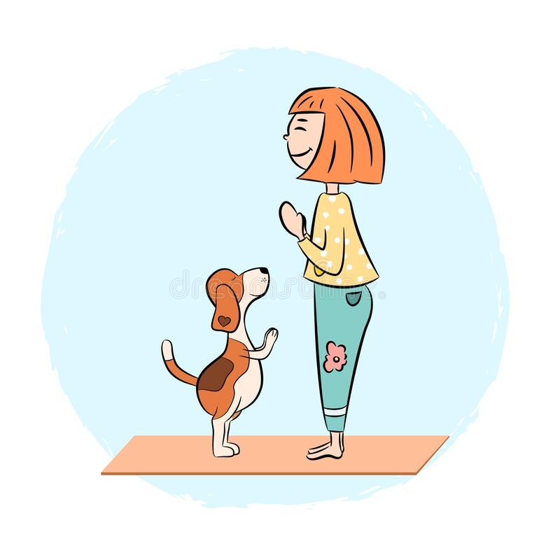 Cartoon dog beagle with girl doing yoga. Cartoon funny dog beagle with girl doing yoga pose. Surya Namaskara. San Salutation. Vector illustration stock illustration