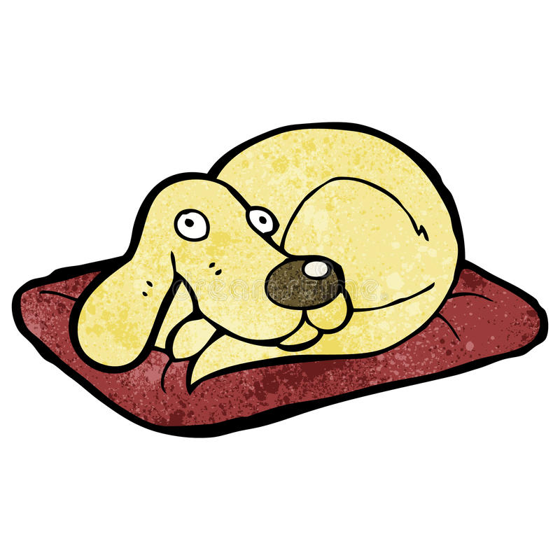 Cartoon dog on bed. Retro cartoon with texture. Isolated on White royalty free illustration