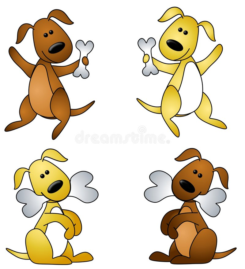 Cartoon Dog With Bone. An illustration featuring your choice of 4 cartoon dogs with bones in brown and gold - standing and sitting royalty free illustration